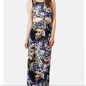 TOPSHOP Animal Print Floral Knotted Maxi Dress